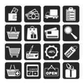 Silhouette Shopping and website icons — Stock Vector