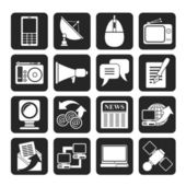 Silhouette Communication and Technology icons — Stock Vector