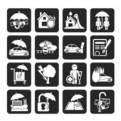 Silhouette Insurance and risk icons — Stockvektor