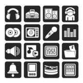 Silhouette Music and sound Icons — Vector de stock