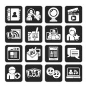 Silhouette social networking and communication icons — Stock Vector