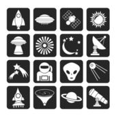 Silhouette astronautics, space and universe icons — Stok Vektör
