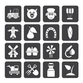 La agricultura y la silueta de iconos de cultivo — Vector de stock