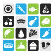 Silhouette Different kind of food icons — Stock Vector