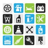 Transporte silueta y reparación de automóviles iconos — Vector de stock