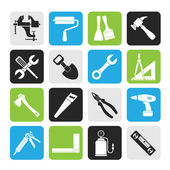 Silhouette Building and Construction work tool icons — Stock Vector