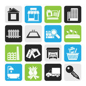 Silhouette Real Estate and building icons — Stock Vector