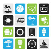 Silhouette Vacation and holiday icons — Stock Vector