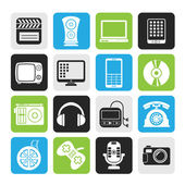 Silhouette multimedia and technology icons — Stock Vector