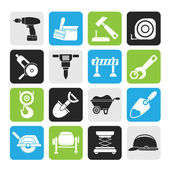 Silhouette building and construction icons — Stock Vector