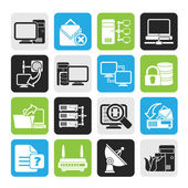Silhouette Computer Network and internet icons — Stock Vector