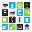 Silhouette Cafe and coffee house icons — Stock Vector #50826863