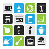 Silhouette Cafe and coffee house icons — Stock Vector