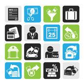 Impuestos silueta, iconos de negocios y finanzas — Vector de stock