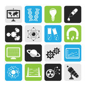 Silhouette science, research and education Icons — Stock Vector