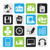 Silhouette Office and business icons — Stok Vektör