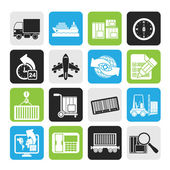 Silhouette shipping and logistics icons — Stock Vector