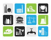 Silhouette Heavy industry icons — Stock Vector