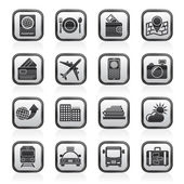Travel, transportation and vacation icons — Vector de stock