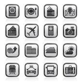 Travel, transportation and vacation icons — Stok Vektör