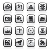 Map, navigation and Location Icons — Stockvector