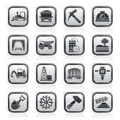 Mining and quarrying industry icons — Stock Vector