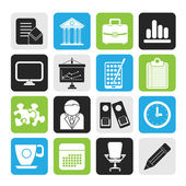 Silhouette Business and office icons — Stock Vector