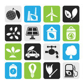 Silhouette Green, Environment and ecology Icons — Stock Vector