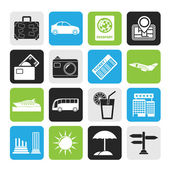 Silhouette Travel and vacation icons — Stock Vector