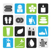Silhouette Spa objects icons — Stock Vector