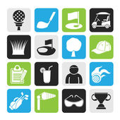 Silhouette golf and sport icons — Stock Vector