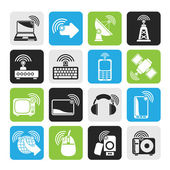 Silhouette wireless and technology icons — Stock Vector