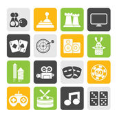 Silhouette entertainment objects icons — Stock Vector