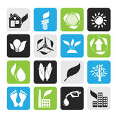 Silhouette environment and nature icons — Vecteur