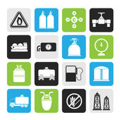 Silhouette Natural gas objects and icons — Vector de stock