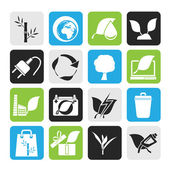 Silhouette Environment and Conservation icons — Stock Vector
