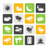 Silhouette Weather and meteorology icons — Stockvektor