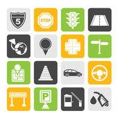 Iconos de tráfico, carreteras y viajes de silueta — Vector de stock