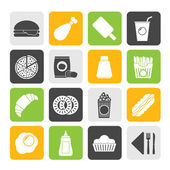 Silhouette fast food and drink icons — Stock Vector