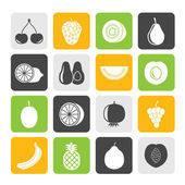 Silhouette Different kind of fruit and  icons — Stockvector