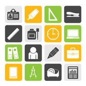 Silhouette Business and office objects icons — Stock Vector