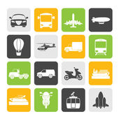 Silhouette Transportation and travel icons — Stock Vector
