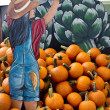 Harvest Season Mural and Pumpkins — Stock Photo