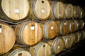 Wine Barrels at a Winery Celler — Stock Photo