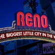 Close Up of the Famous Reno Sign — Stock Photo