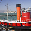 Tugboat and Alcatraz Island - Stock Photo