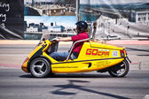 Tourist in a San Francisco GOcar — Stock Photo