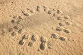 Fotspår i en cirkel — Stockfoto