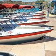 Boat Rental Fleet at Dock — Stock Photo