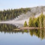 Geyser Reflections on Yellowstone Lake — Stock Photo #2614807
